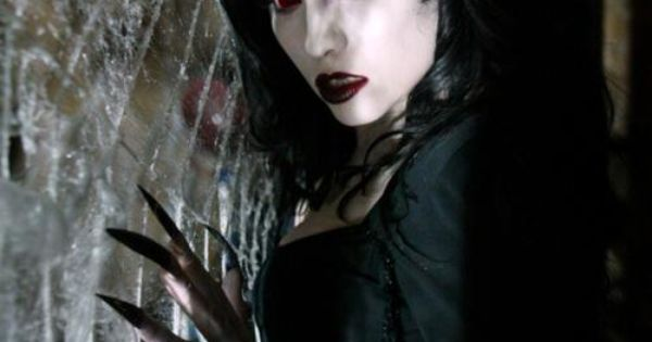 Spider demon - raven black hair, red blood eyes and lips ...
