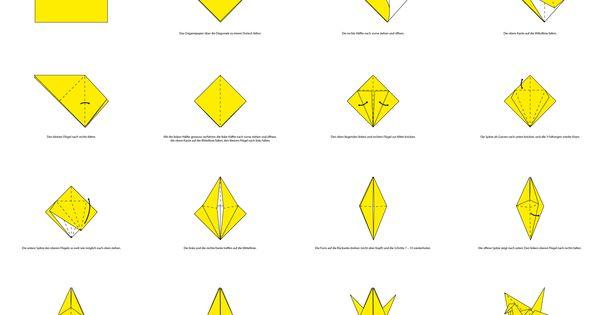 origami faltanleitung f r eine kranich ideen pinterest. Black Bedroom Furniture Sets. Home Design Ideas