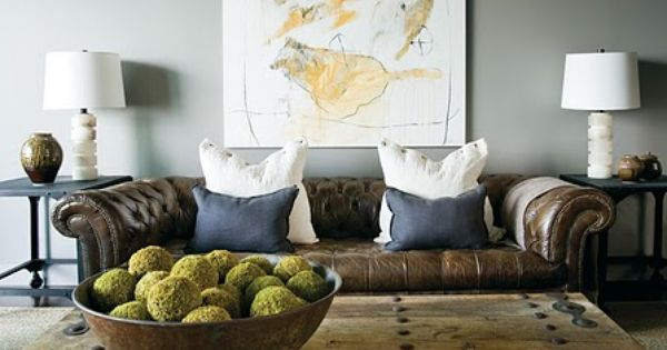 I like the wall color with brown couches……..Black metal light fixture; gray