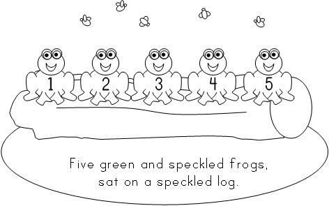 Five Little Speckled Frogs Printables Back To Five Green And