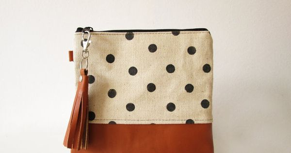 Polka dot clutch bag, Pouch, Canvas and leather clutch purse, Leather tassel,
