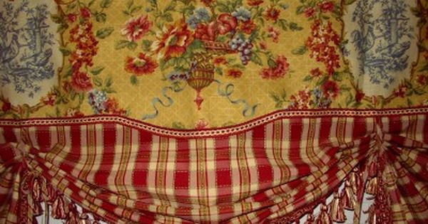 French Country Valance Balloon Shade Curtain Red Gold Waverly Toile Plaid Trim French Country Curtains Country Valances Country Curtains