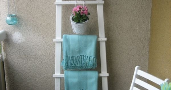 20 balcony, regal z drabiny, stara drabina we wnetrzu, shabby ladder ideas,
