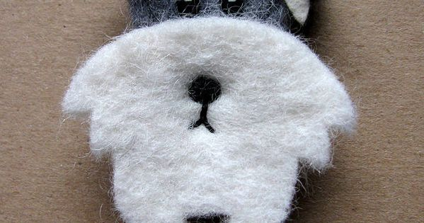 Woof woof... Sweet Miniature Schnauzer brooch made of wool felt. Lovingly handmade