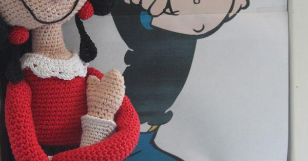 Crochet Pattern Popeye Doll : Haakpatroon van Olijfje, Crochet doll Olive, Gehaakte pop ...