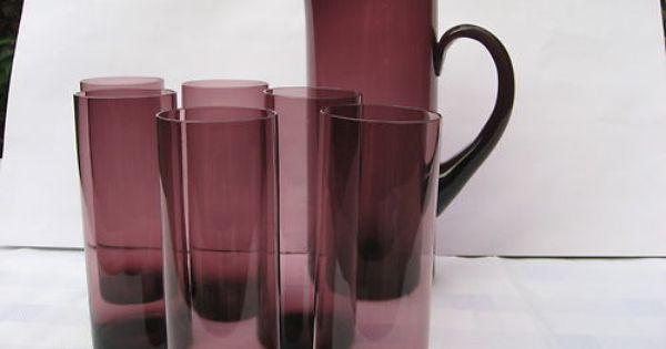 Whitefriars Stunning Antique Art Glass Water Set Jug
