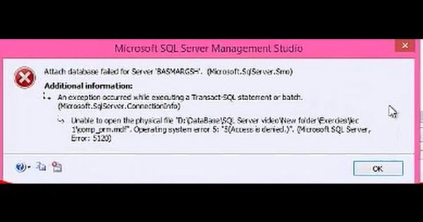 Error Attach Database مشكلة تظهرعنداضافة قاعدة بيانات للسيكوال Sql Management Server