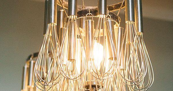 Diy hanging whisk tea light candle holder votive kitsch for Diy hanging tea light candle holders