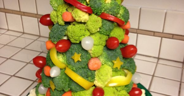 The veggie xmas tree centerpiece is the most unique vegetable and dip