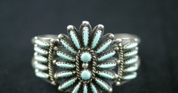 Sterling Silver And Turquoise Baby Cuff Bracelet By