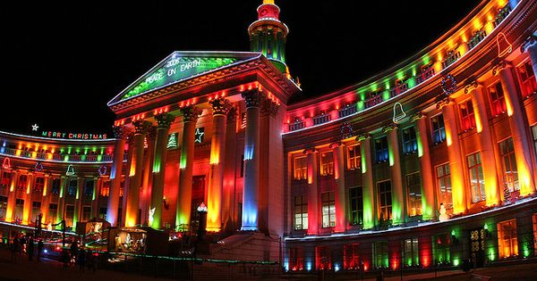 Holiday lights at the Denver City and County building