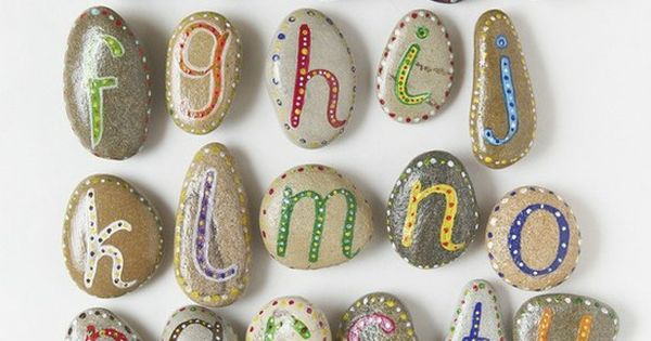Alphabet painted stones craft idea
