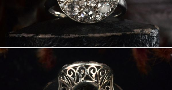 Early 1900s French Platinum Filigree Cluster Ring. engagementring vintage antique