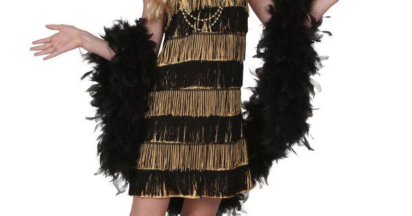 Child gold and black fringe flapper costume girl costumes fringes