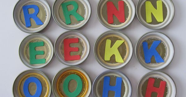 Baby food jar lid alphabet games