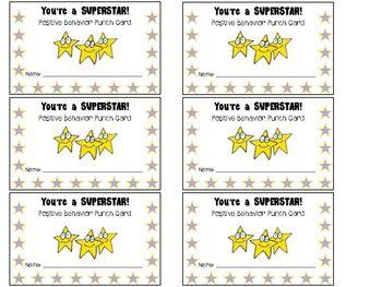 Student Rewards Punch Cards Punch Cards Student Incentives Creative Classroom