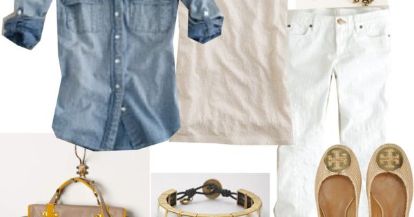 Denim shirt, white jeans, tory burch flats ughhh i neeeeeed this