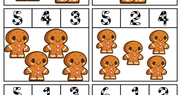 Gingerbread Man Counting Clip Cards
