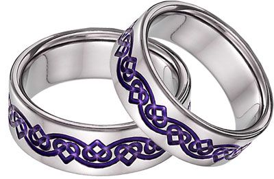 Love These Purple Titanium Celtic Heart Wedding Band Set