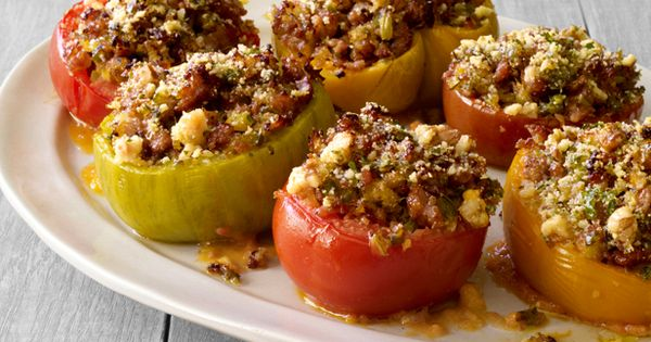 Turkey Sausage -and-Basil Stuffed Tomatoes from FNMag.