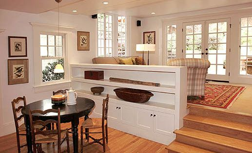 Love split level living spaces home stairs halls misc for Split living room dining room ideas