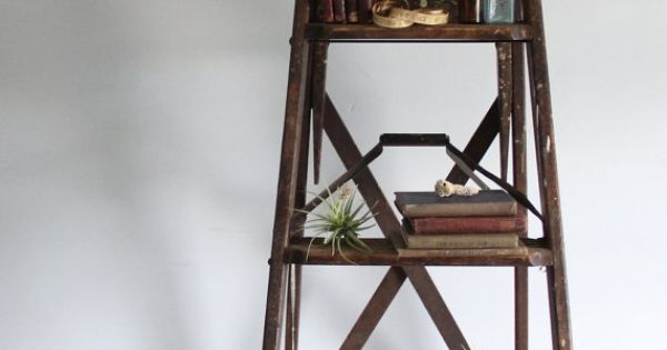 Vintage Wooden Ladder, Rustic Farmhouse Decor, Bookshelf
