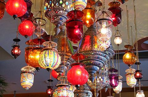 Moroccan lanterns for lounge area and hanging table centerpieces - or make