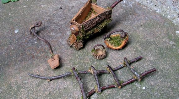 Gardening tools for a fairy garden made from natural materials. Adorable!  정원 ...