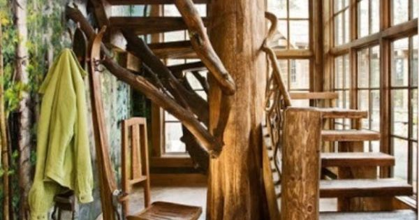 Best Cabin Staircase With Tree Trunk Support Make Mine Rustic 400 x 300