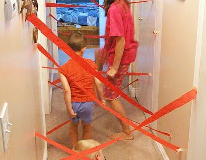 DIY laser maze kids activity obstacle course, rainy day inside play