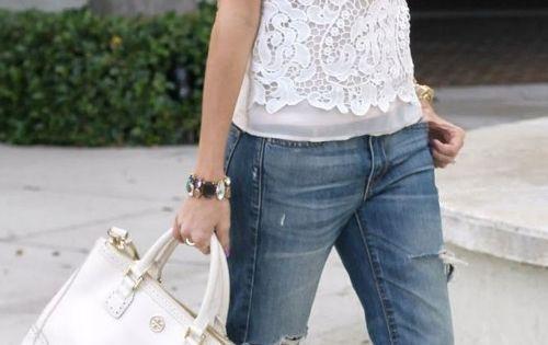 white lace top, boyfriend jeans, nude heels