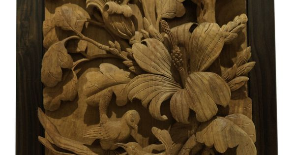 Hand carved teak wood panel carving bird flower relief