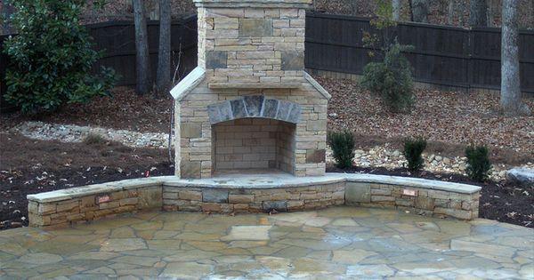 #stone patio fireplace wall cumming