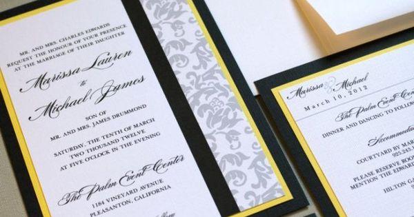 Classic Damask Wedding Invitations Black White Yellow