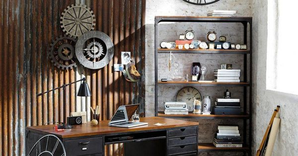 D coration murale industrielle horloge murale bureau en for Decoration murale industrielle