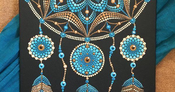 Traum Catcher Blau Braun Dot Mandala Etsy Mandala Malen