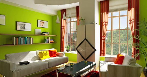 The Lime Green Walls In This Living Room Add A Real Sense Of Life And Vitality Along With The