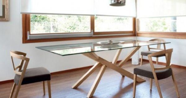 Table design en verre et pieds bois tree domitalia tables dinning table a - Table verre et bois design ...