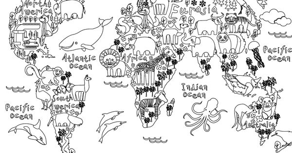 Coloriage gratuit carte monde animaux carte monde coloriage gratuit et coloriage for Planisphere enfant
