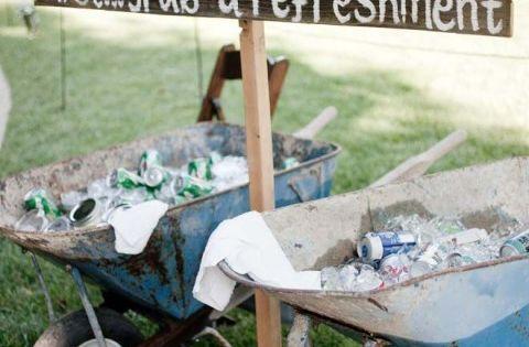 Drinks in wheelbarrows! Love it :) Shawna & Brandon's wedding appears in