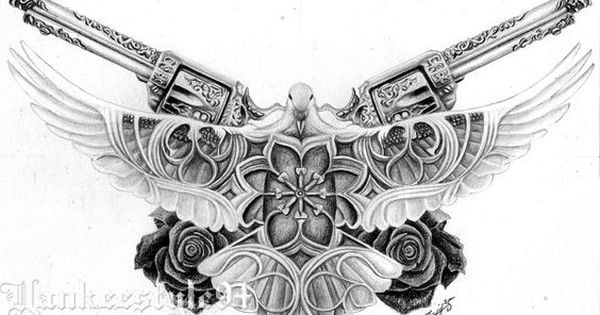 White Dove Tattoo With Guns N Roses By Yankeestyle94 On Deviantart Dove Tattoo White Dove Tattoos Chest Piece Tattoos