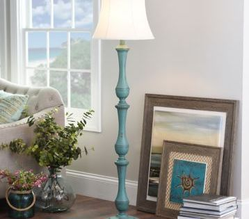 Turquoise Hadley Floor Lamp With Images Floor Lamp Farmhouse Floor Lamps Floor Lamp With Shelves
