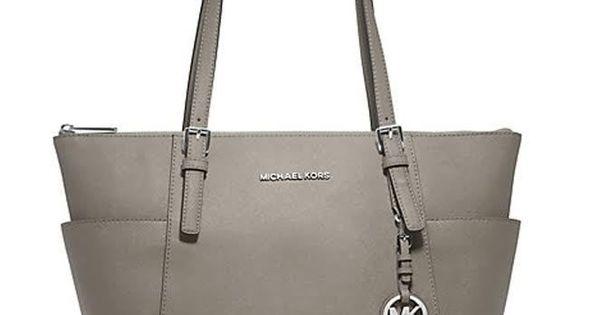 MICHAEL KORS JET SET Saffiano Zip Top Travel Tote Bag Handbag Pearl
