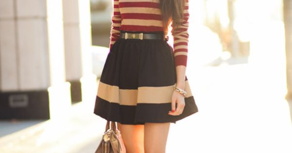 Soft Striped sweater and belted A-line mini skirt