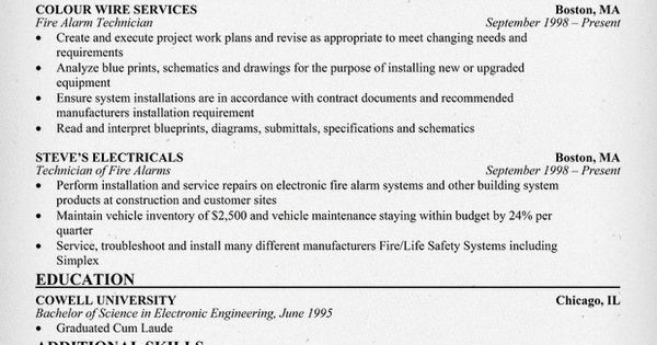 Fire Alarm Technician Resume / Sales / Technician - Lewesmr - fire alarm technician resume