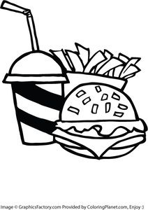 Free Fast Food Burger And Fries Coloring Page 24 From Coloring Planet Com Burger And Fries Free Fast Food Food Coloring Pages