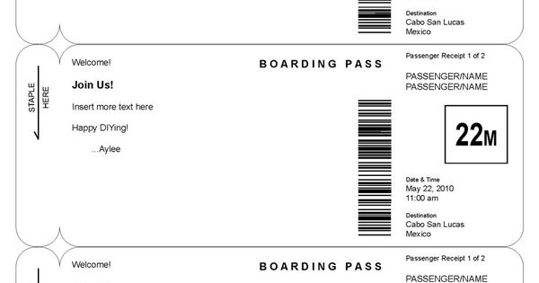 Boarding pass invitation template by lucas for Boarding pass sleeve template