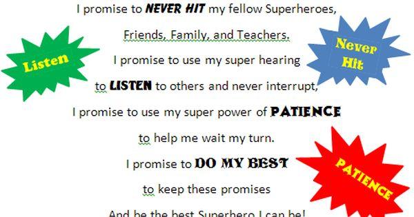 Classroom Party Ideas For Good Behavior ~ Superhero pledge fun pinterest