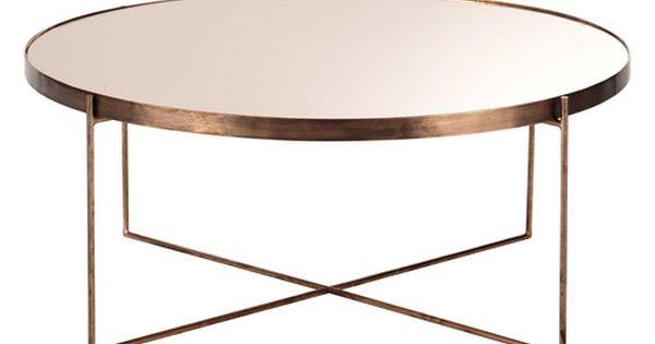 Table basse avec miroir en m tal cuivr d comete - Table basse miroir ...