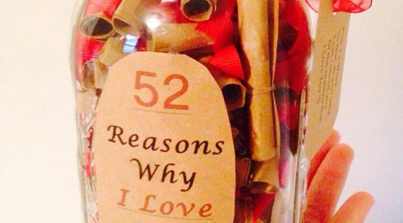 52 Reasons Why I Love You Gift in a Jar. Can change
